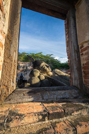 Temple of Ayutthaya, History of Thailand Buddha statue at Temple of Thailand Stock fotó