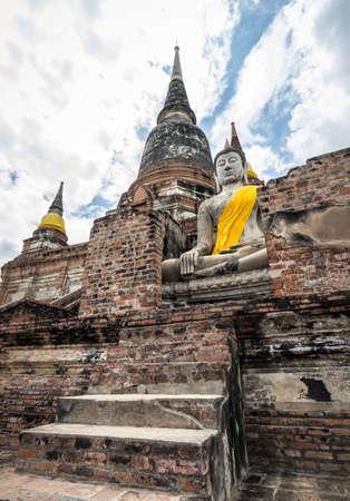 Wat Yai Chai Mongkol in Ayudhaya, thailand The main stupa, or chedi, at a national historic place Stock fotó