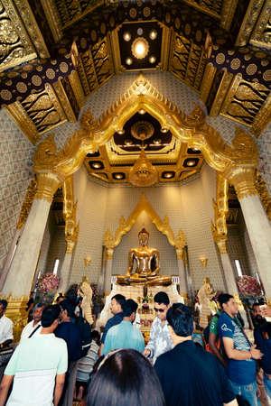 Bangkok Thailand - July 31, 2018;  The Biggest Buddha made of gold, Wat trai mit wittayaram, bangkok, Thailand.