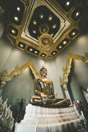 Bangkok Thailand - July 31, 2018;  The Biggest Buddha made of gold, Wat trai mit wittayaram, bangkok, Thailand.
