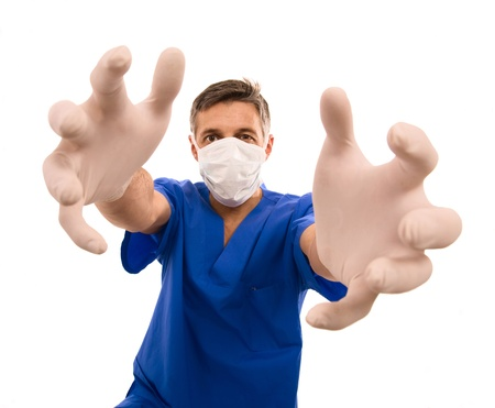 funny doctor with surgical mask and long hands Stock Photo - 9338080