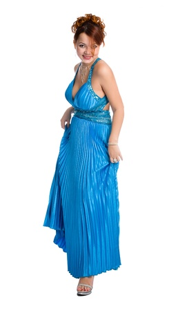 young smiley attractive woman posing in blue dress. Stock Photo - 9357966