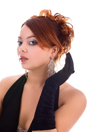 young attractive woman with long black gloves. Stock Photo - 9357984