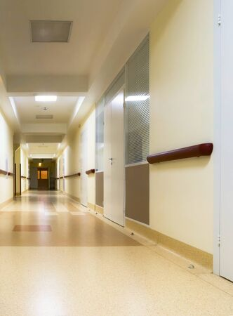 long corridor in hospital photo