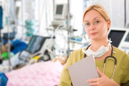 emergency room: female doctor in  emergency room