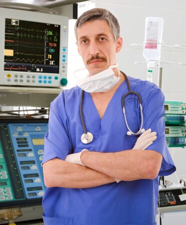 resuscitation department: experienced physician in intensive care unit
