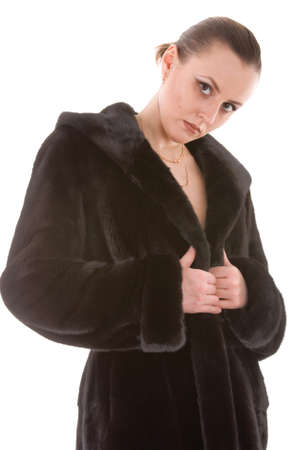 young women with fur coat photo