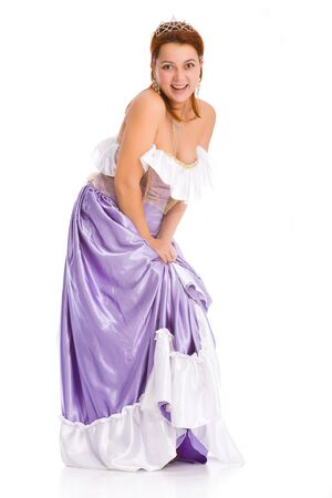 chatoyant: young attractive laughing woman in ball dress. Stock Photo