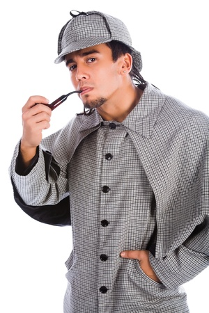 holmes: asian sherlock holmes with pipe