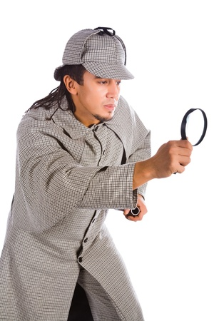 holmes: asian sherlock holmes with pipe and magnifying glass