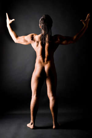 muscular young naked man with dreadlocks Stock Photo - 9637195