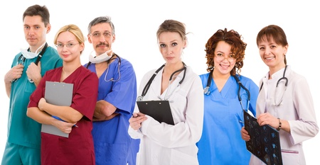 Young successful medical team. Six female an male doctors 免版税图像