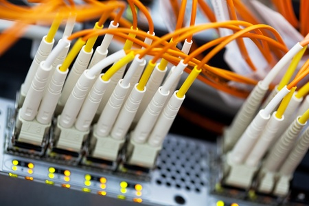 patch: Network Switch. Closeup view with shallow DOF.