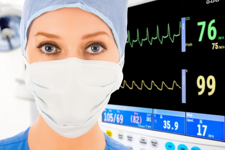 cardiac care: young female doctor in intensive care unit with ECG monitor