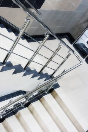 stairway enclosure with metallic stair railing within building Stock Photo - 10573694