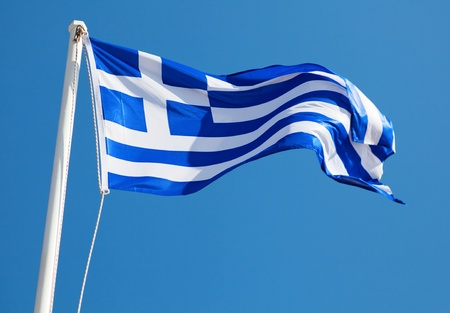 greece flag: Greek Flag on Blue Background Stock Photo