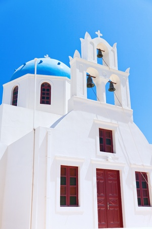 Greek orthodox church on santorini island photo