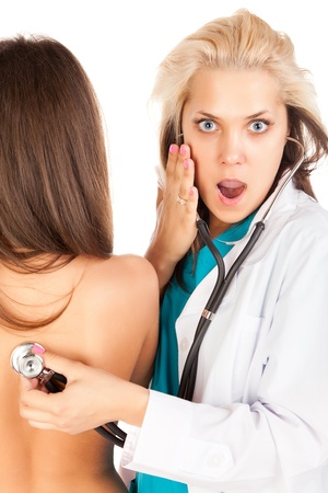 Surprised female doctor with patient Stock Photo - 11002481