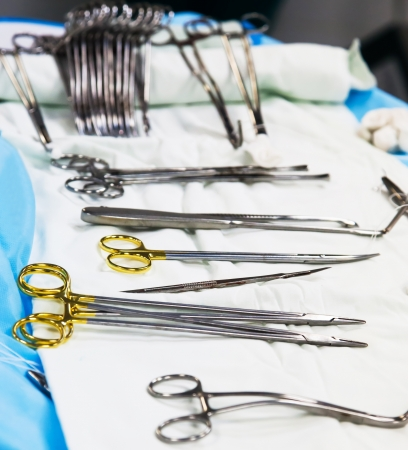 surgical instruments in operation room. image with shallow DOF