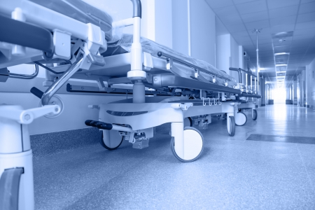 long corridor in hospital with surgical transport. tinted picture Standard-Bild