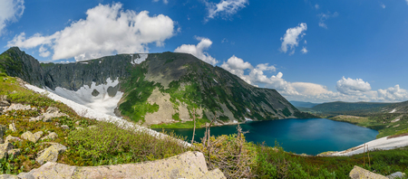 multiple images: Mountain lake in Siberia  Panoramic picture from multiple images