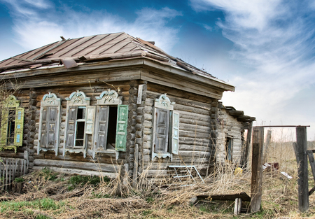 ugliness: Abandoned Wooden House in Old Russian Village in Siberia