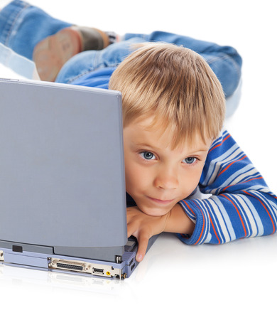 five years old: Five Years Old Boy with Laptop Isolated on White Stock Photo