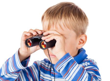 playful: Playful Little Boy with Binoculars Stock Photo