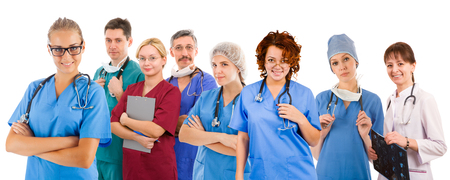 Smiley medical team of eight people. Six female an two male doctors photo