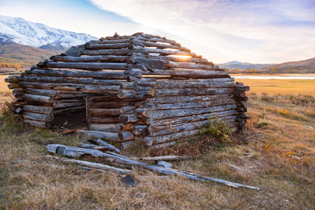 """Traditional Altai Building called """"Ail"""" abandoned in Mountains with Fog"""