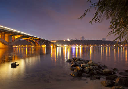 Kyiv Metro bridge at night photo