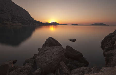 Mountain sunrise  Ukraine  Crimea Stock Photo