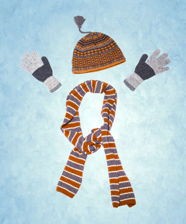 winter clothing on snow background Stock Photo