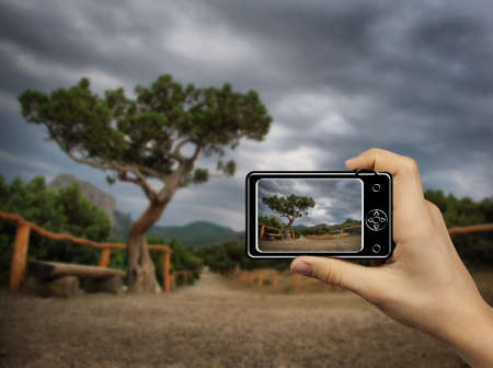 Tourist Holds Up Abstract Camera at mountain landscape photo