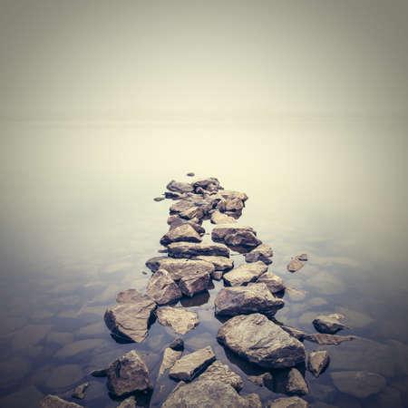 paesaggio: Minimalista paesaggio nebbioso. Ucraina.