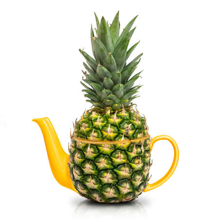 Concept green pineapple tea on white background