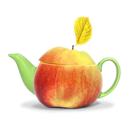 Concept apple tea on a white background photo