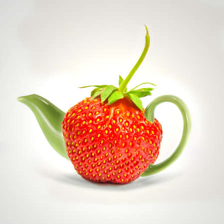 Concept strawberry teapot photo