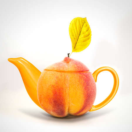 Concept peach teapot  photo