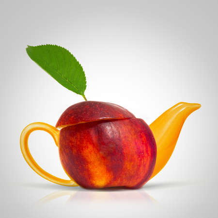 Concept nectarine teapot photo