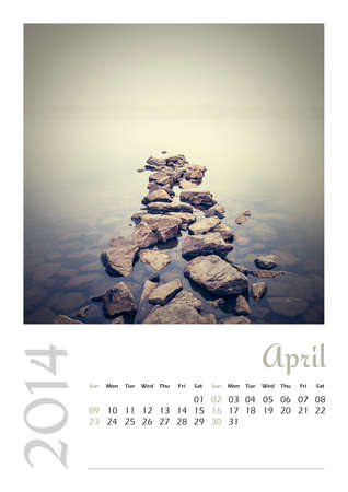 Photo calendar with minimalist landscape 2014  April