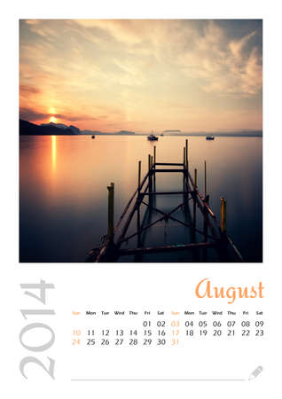 Photo calendar with minimalist landscape 2014  August
