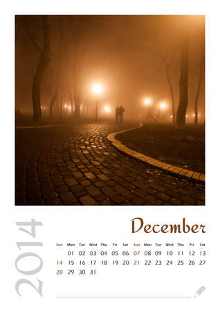 Photo calendar with minimalist landscape 2014  December