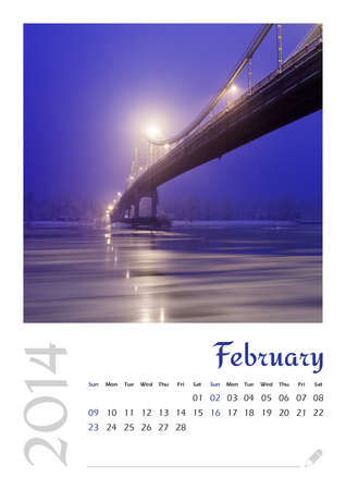 Photo calendar with minimalist landscape 2014  February photo