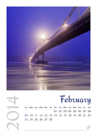 Photo calendar with minimalist landscape 2014  February