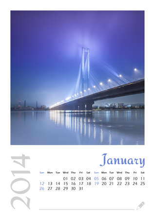 Photo calendar with minimalist landscape 2014  January photo