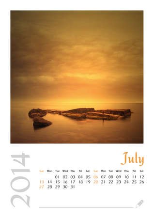 Photo calendar with minimalist landscape 2014  July