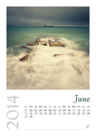 Photo calendar with minimalist landscape 2014  June Stock Photo