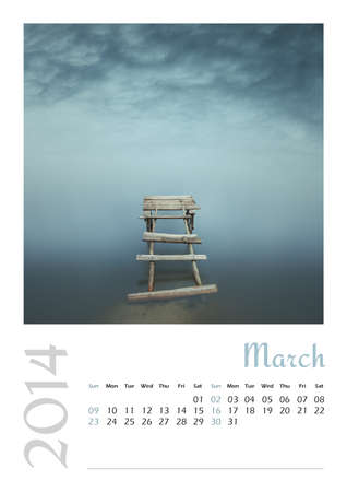 Photo calendar with minimalist landscape 2014  March