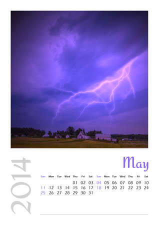Photo calendar with minimalist landscape 2014  May